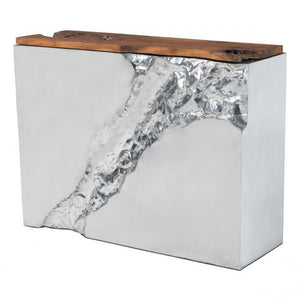 Luxe Console Table Natural & Stainless Steel - Dreamart Gallery