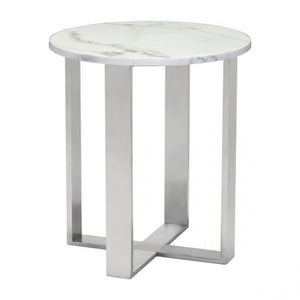 Atlas End Table Stone & Brushed Stainless Steel - Dreamart Gallery