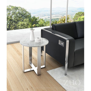 Atlas End Table Stone & Brushed Stainless Steel - Dream art Gallery