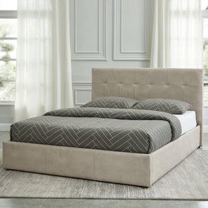 "Extara 78"" King Platform Storage Bed in Beige - Dream art Gallery"