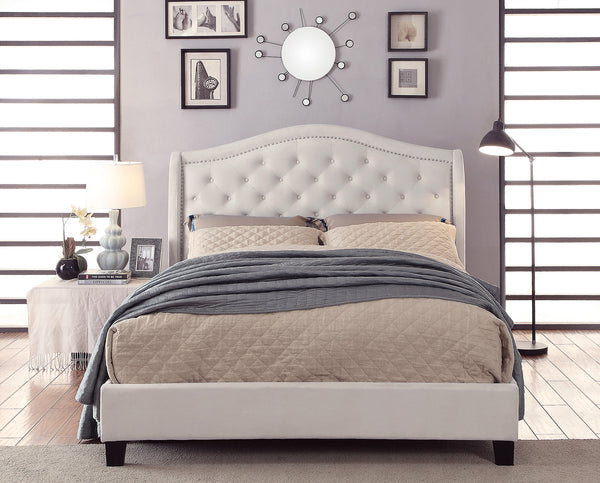 "Louvre 78"" King Platform Bed in Ivory"