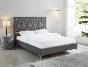 "Dolce 60"" Queen Platform Bed in Grey - Dream art Gallery"