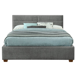 "Emilio 78"" King Platform Bed W/Drawers in Light Grey"