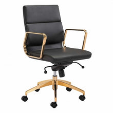Load image into Gallery viewer, Scientist Low Back Office Chair Black & Gold - Dreamart Gallery