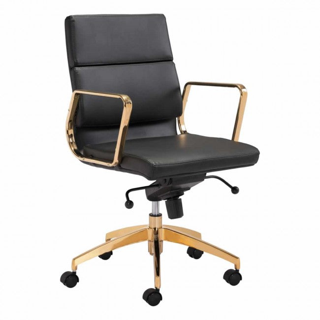 Scientist Low Back Office Chair Black & Gold - Dream art Gallery