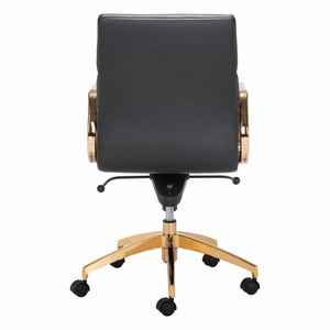 Scientist Low Back Office Chair Black & Gold - Dreamart Gallery