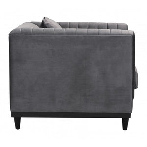 Garland Arm Chair Gray Velvet - Dream art Gallery