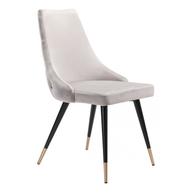 Piccolo Dining Chair Gray Velvet - Dream art Gallery