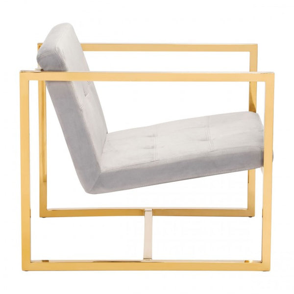 Alt Arm Chair Gray Velvet - Dream art Gallery