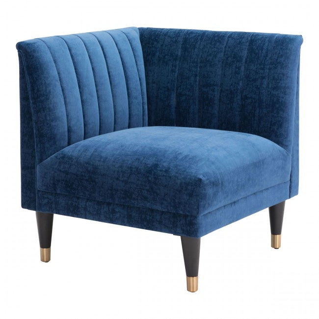 Raven Corner Chair Blue Velvet - Dream art Gallery