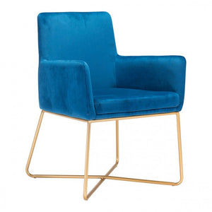 Honoria Arm Chair Dark Blue Velvet - Dream art Gallery