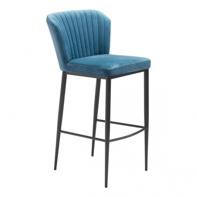 Tolivere Bar Chair Blue Velvet - Dream art Gallery