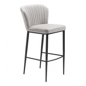 Tolivere Bar Chair Gray Velvet - Dream art Gallery