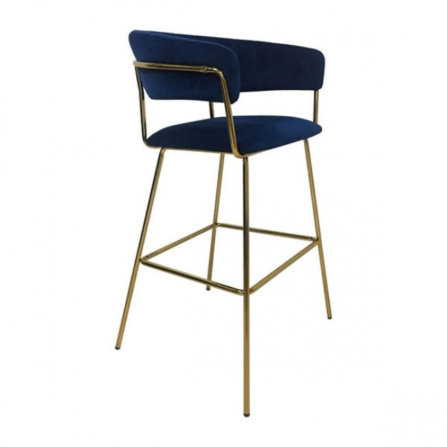 Hanna Bar Chair Dark Blue Velvet - Dreamart Gallery