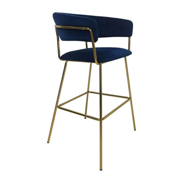 Hanna Bar Chair Dark Blue Velvet