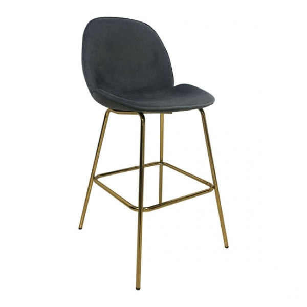 Siena Bar Chair Graphite Gray Velvet