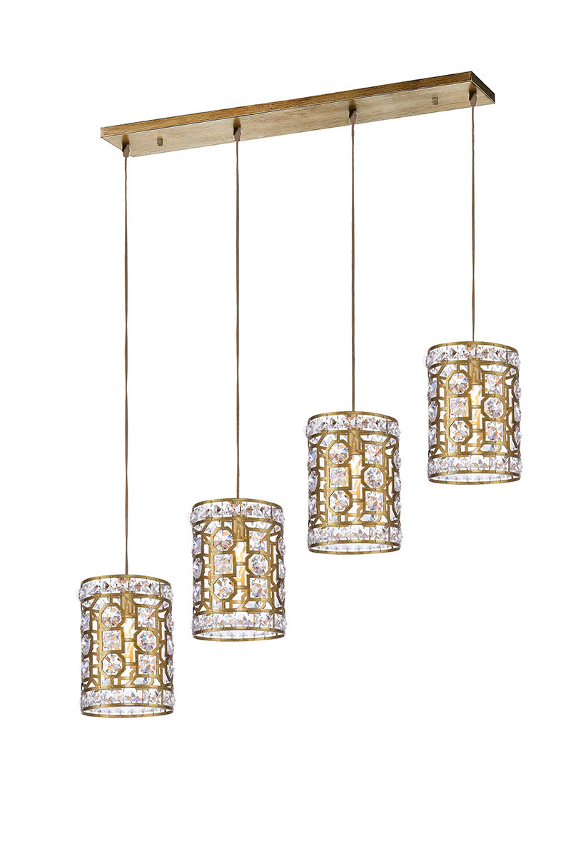 4 LIGHT CHANDELIER WITH CHAMPAGNE FINISH - Dream art Gallery