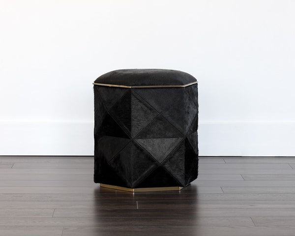Ashanti Storage Ottoman - Gold - Black