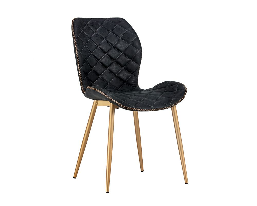 Lyla Dining Chair - Champagne Gold - Antique Black - Dreamart Gallery
