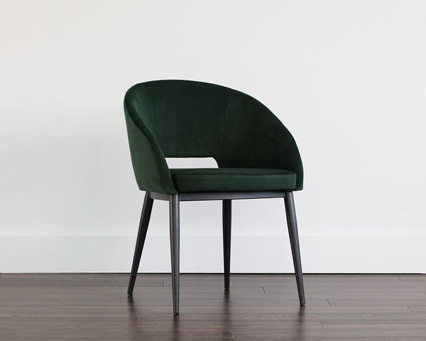 Thatcher Dining Armchair - Black - Deep Green Sky