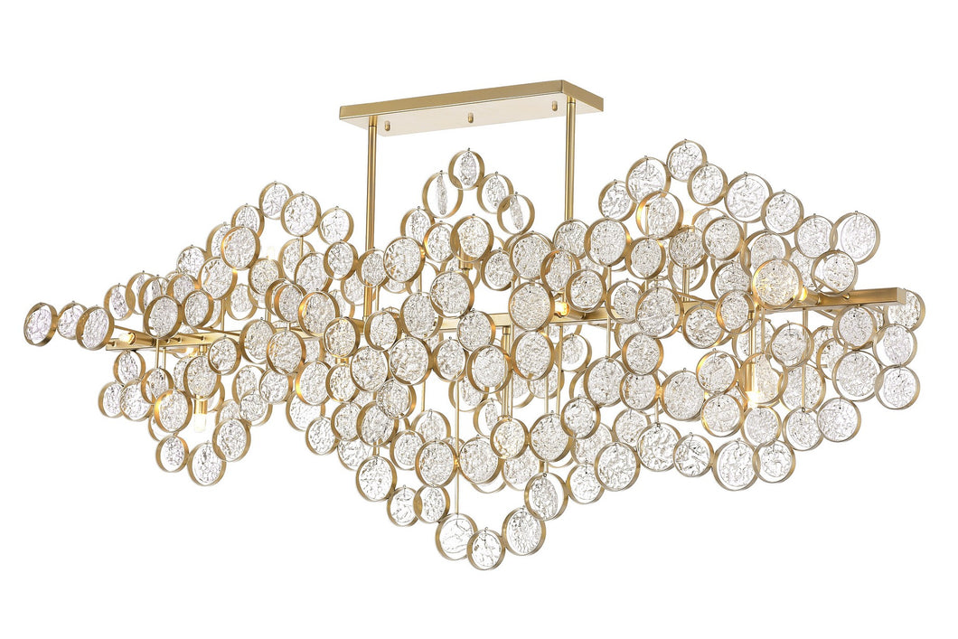 15 LIGHT CHANDELIER WITH GOLD LEAF FINISH - Dream art Gallery