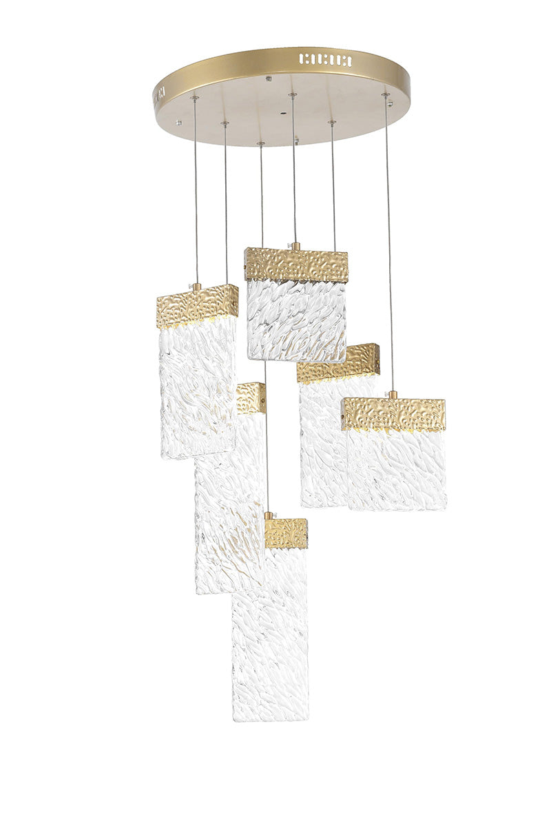 LED CHANDELIER WITH GOLD LEAF FINISH - Dream art Gallery