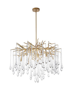 6 LIGHT CHANDELIER WITH GOLD LEAF FINISH - Dream art Gallery