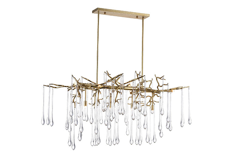 10 LIGHT CHANDELIER WITH GOLD LEAF FINISH - Dream art Gallery