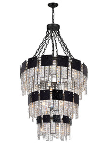 24 LIGHT DOWN CHANDELIER WITH POLISHED NICKEL FINISH - Dream art Gallery