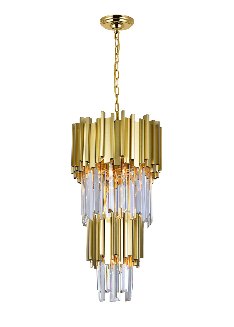 4 LIGHT DOWN MINI CHANDELIER WITH MEDALLION GOLD FINISH - Dream art Gallery