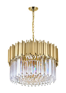 7 LIGHT DOWN CHANDELIER WITH MEDALLION GOLD FINISH - Dream art Gallery