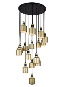16 LIGHT MULTI LIGHT PENDANT WITH PEARL GOLD FINISH - Dream art Gallery