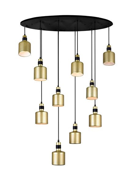10 LIGHT MULTI LIGHT PENDANT WITH PEARL GOLD FINISH - Dream art Gallery
