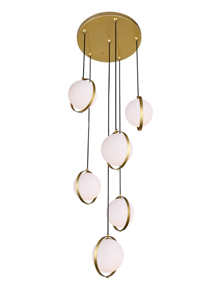 6 LIGHT MULTI LIGHT PENDANT WITH BRASS FINISH - Dream art Gallery