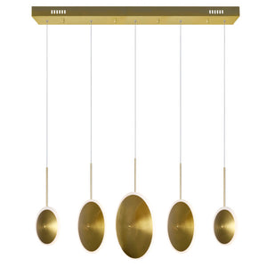 LED ISLAND/POOL TABLE CHANDELIER WITH BRASS FINISH - Dream art Gallery