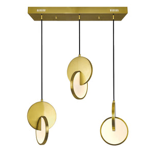 LED ISLAND/POOL TABLE CHANDELIER WITH BRUSHED BRASS FINISH - Dream art Gallery