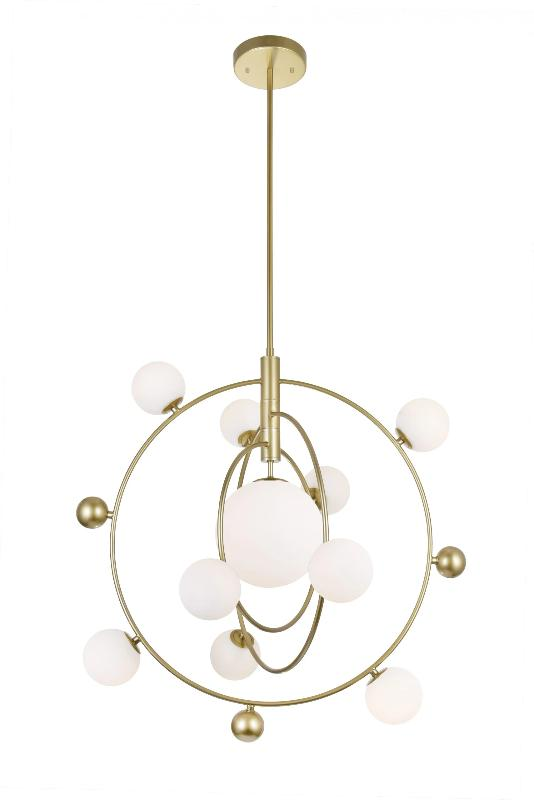 10 LIGHT CHANDELIER WITH MEDALLION GOLD FINISH - Dream art Gallery