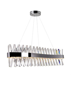 LED CHANDELIER WITH CHROME FINISH AND CLEAR CRYSTALS - Dream art Gallery