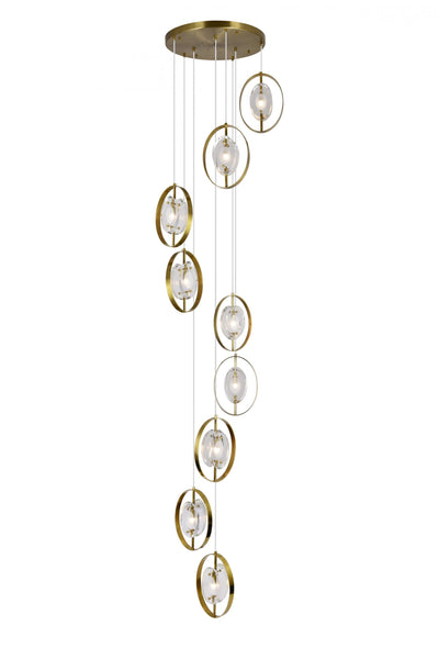 9 LIGHT PENDANT WITH BRASS FINISH - Dream art Gallery