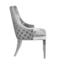 Load image into Gallery viewer, Oscar Grey Two Tone Velvet Steel Chair - Dream art Gallery