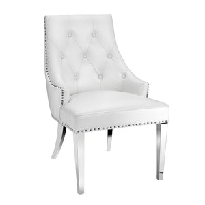 Oscar White Leatherette Steel Chair - Dreamart Gallery