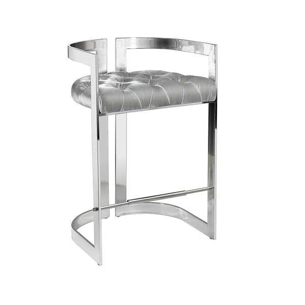 Majestic Grey Velvet Stool