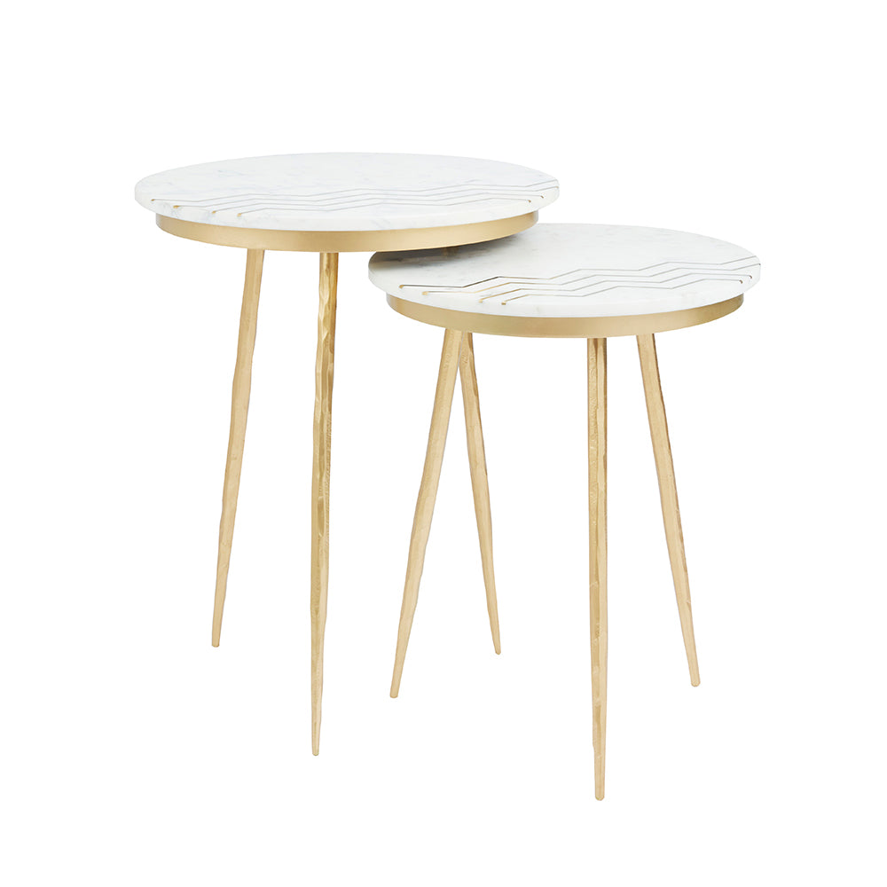 Belvin End Tables: White Marble - Dream art Gallery