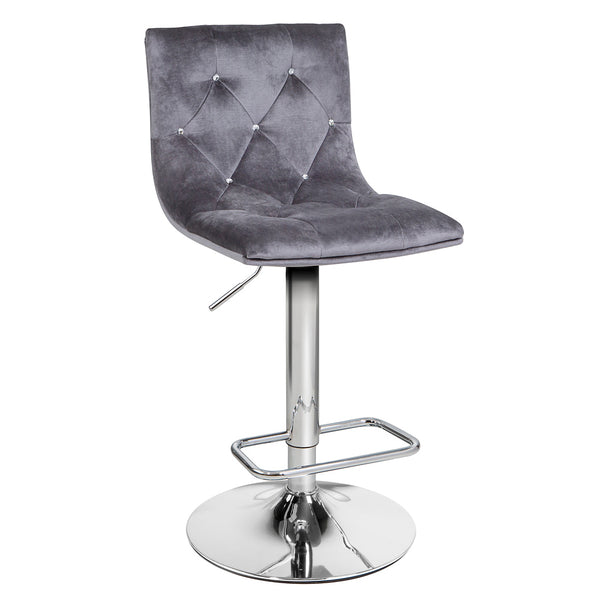 Crystal Charcoal Grey Velvet Adjustable Stool