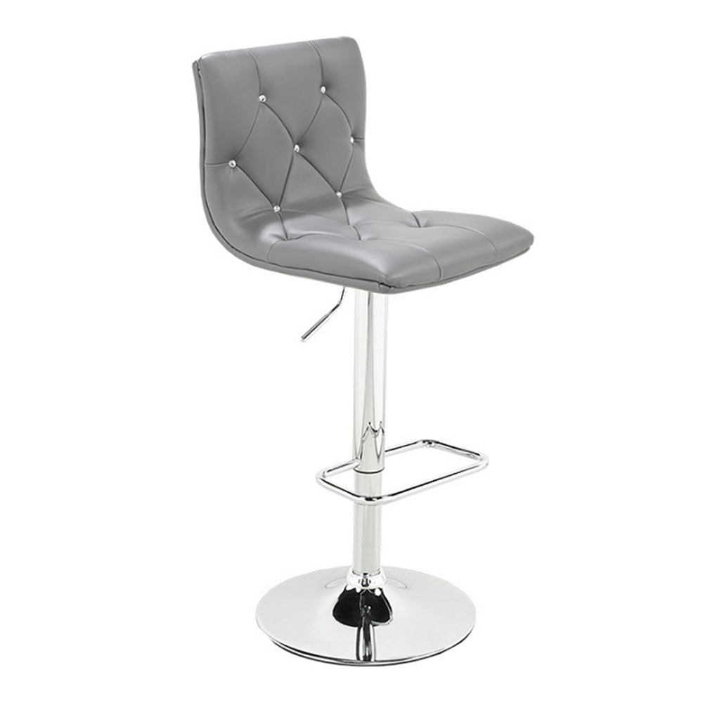 Crystal Grey Velvet Adjustable Stool - Dreamart Gallery