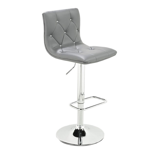 Crystal Grey Velvet Adjustable Stool