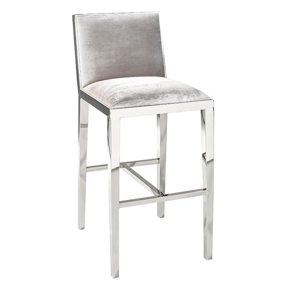 Emario Grey Velvet Bar Chair - Dream art Gallery
