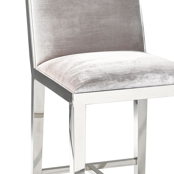 Emario Grey Velvet Bar Chair