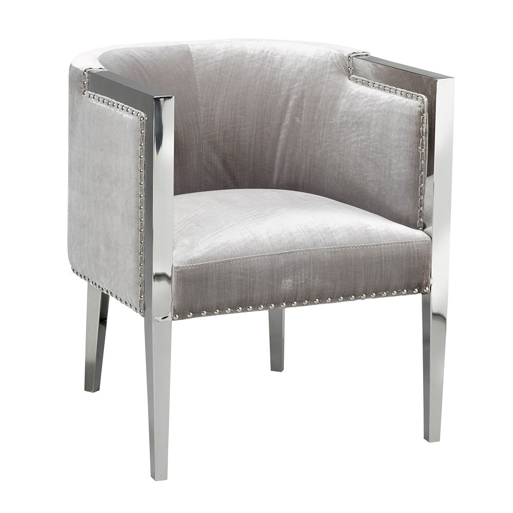 Elvis Grey Velvet Leatherette Chair - Dream art Gallery