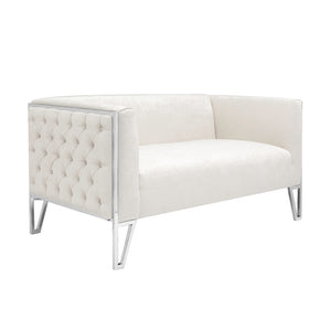 Vermont Ivory Fabric Loveseat - Dream art Gallery